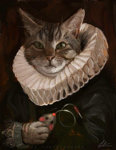 cat cats mouse toy renaissance painting art renaissance art funny haha nerd geek dork nerds nerdy weird