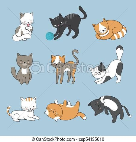 Hand drawing cute cats Vector kitty collection csp