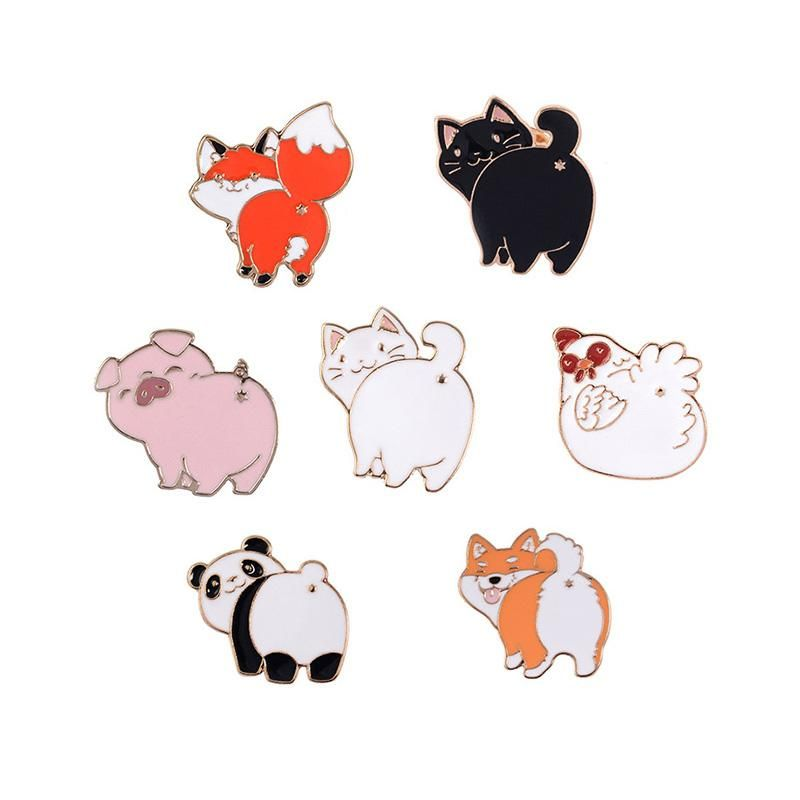 2019 Funny Cartoon Animal Brooches Panda Dog Cat Chick Pig Fox Enamel Pin Kid Backpack Hat Decoration Lapel Metal Badges Jewelry Gift From Wonderliu