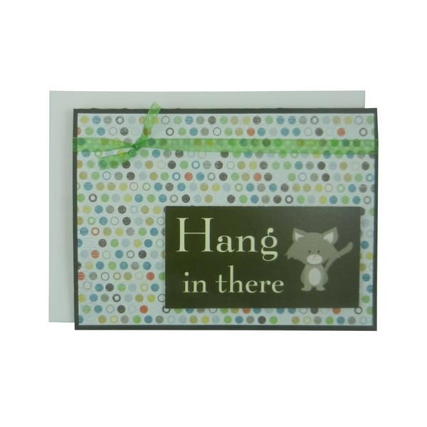 Hang in there Cat Greeting Card Funny Cat Card Cheer Up Cat Lover Gift Blank Card