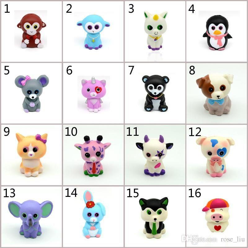 16 Style Squishy PU Ty Beanie Boos Unicorn Toys Squishy Slow Rebound Squishy Simulation Funny Gad Vent Big Eyes Animals Toy B Funny Stress Relievers