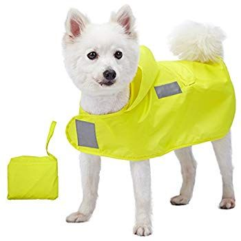 """Blueberry Pet 2019 New 4 Colors 10"""" Lightweight Packable Hooded Dog Rain Poncho with 3M Reflective Safety Tapes in Sunshine Yellow Pack of 1 Outdoor Rain"""