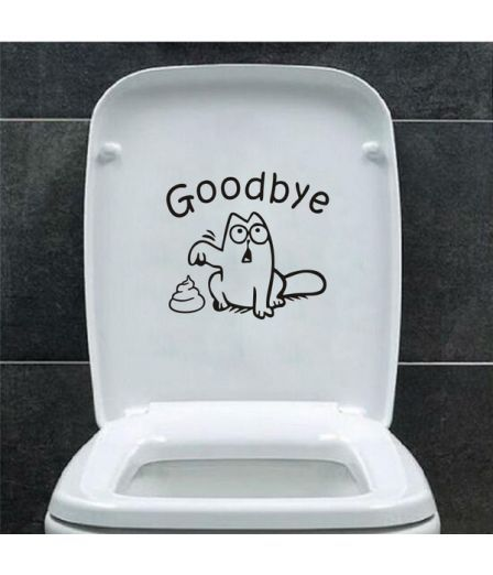 Cute Funny Cat Toilet seat vinyl wall stickers Goodbye stool Bathroom Waterproof Removable Decal