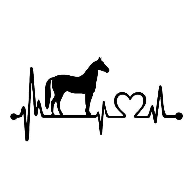 20 5 9 9CM Fashion Horse Heartbeat Decorative Car Sticker Animal Car Styling Decals Black