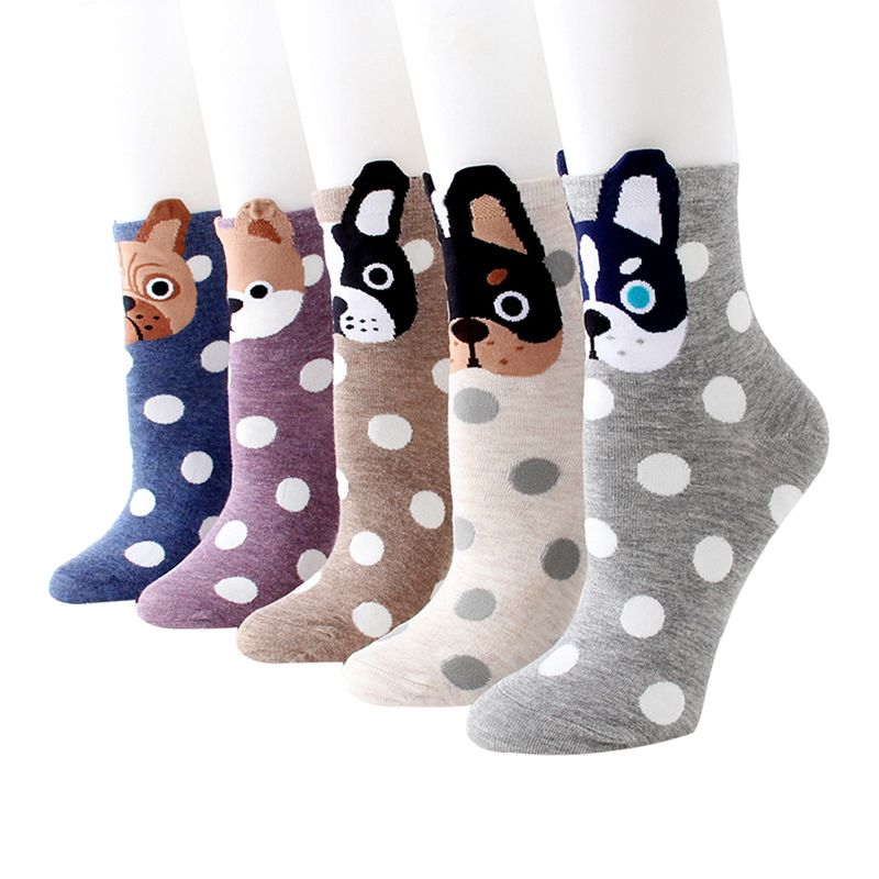 WmcyWell 5 Pairs Autumn Winter Women Girls Socks Ear Cartoon Animal Printed Cute Cat Dog Kawaii Harajuku Funny Socks Gifts