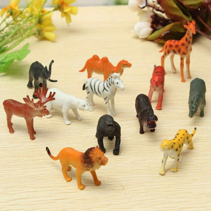 12PCS set Plastic Zoo Animal Figure Tiger Leopard Hippo Giraffe Kids Toy Lovely Animal Toys