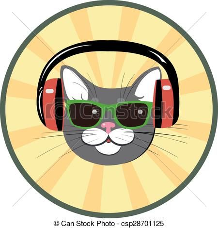 funny cat with headphones and sungl csp