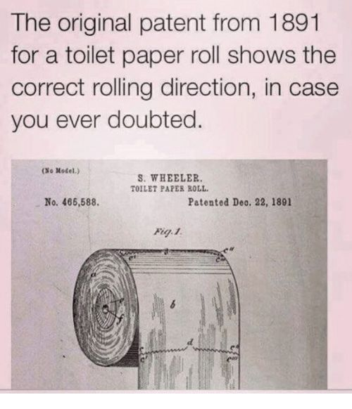 Paper Patent and Case The original patent from 1891 for a toilet paper