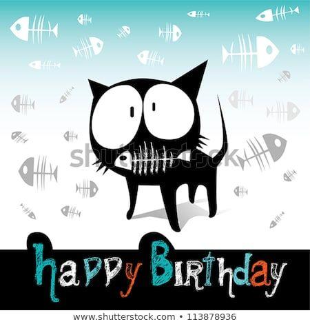 Happy Birthday funny cat and fish