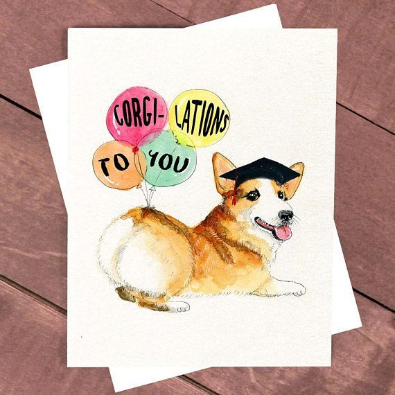 Corgi Butt Card College Graduation Card Corgi Card Welsh Corgi Dog High School Graduation Cap Funny