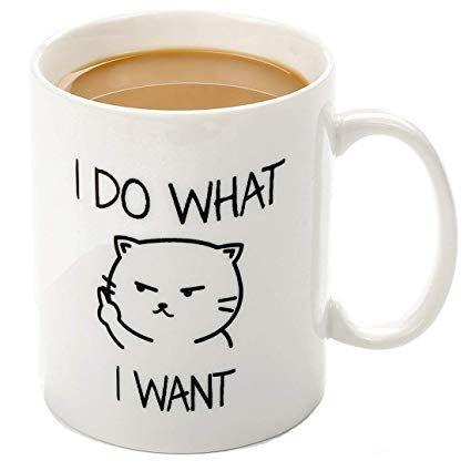 funny mugs I do what I want cat face 11 OZ ceramic coffee