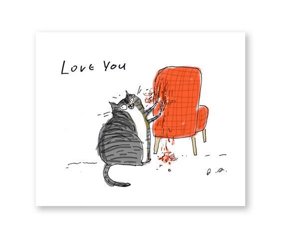 Love You D Inside Blank or with the expression Happy Valentines Day you choose Medium Card based on my original ink drawing Size A2