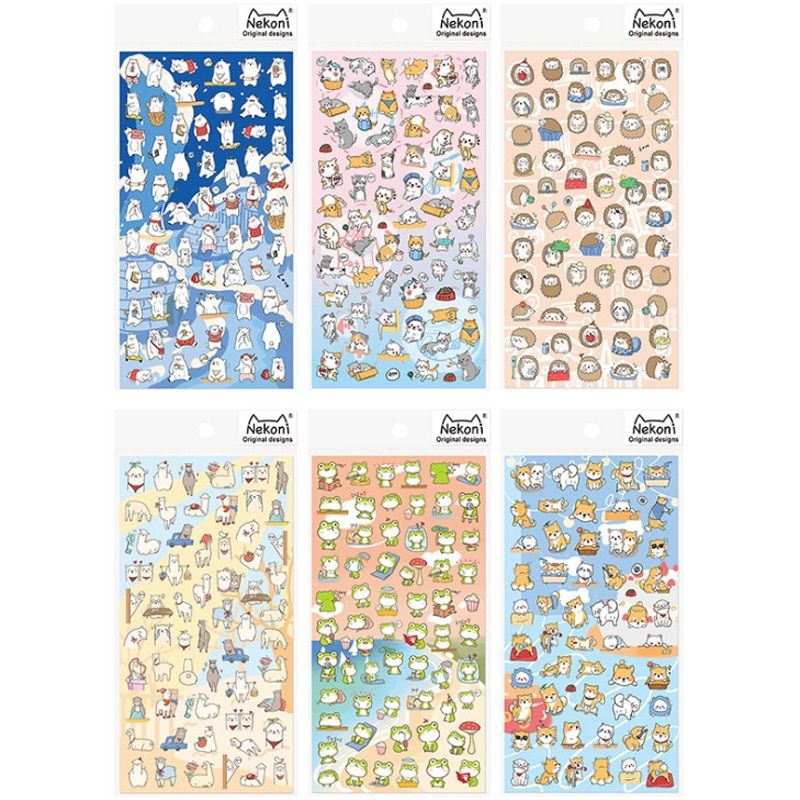 1 Pcs Cartoon Animals Sticker Polar Bear Alpaca Dog Cat Frog Hedgehog Funny Stickers for Kids