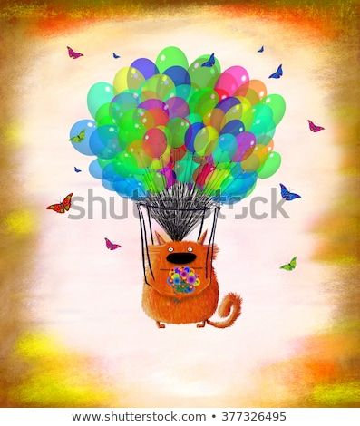 A funny red cat holding a nice bunch of flowers and flying on balloons surrounded by