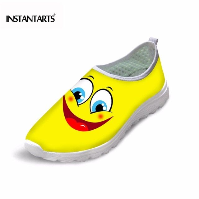INSTANTARTS Casual Men Breathable Mesh Shoes Funny Yellow Smile Face Printed Walking Lazy Shoes Stylish Slip on Sneakers for Man