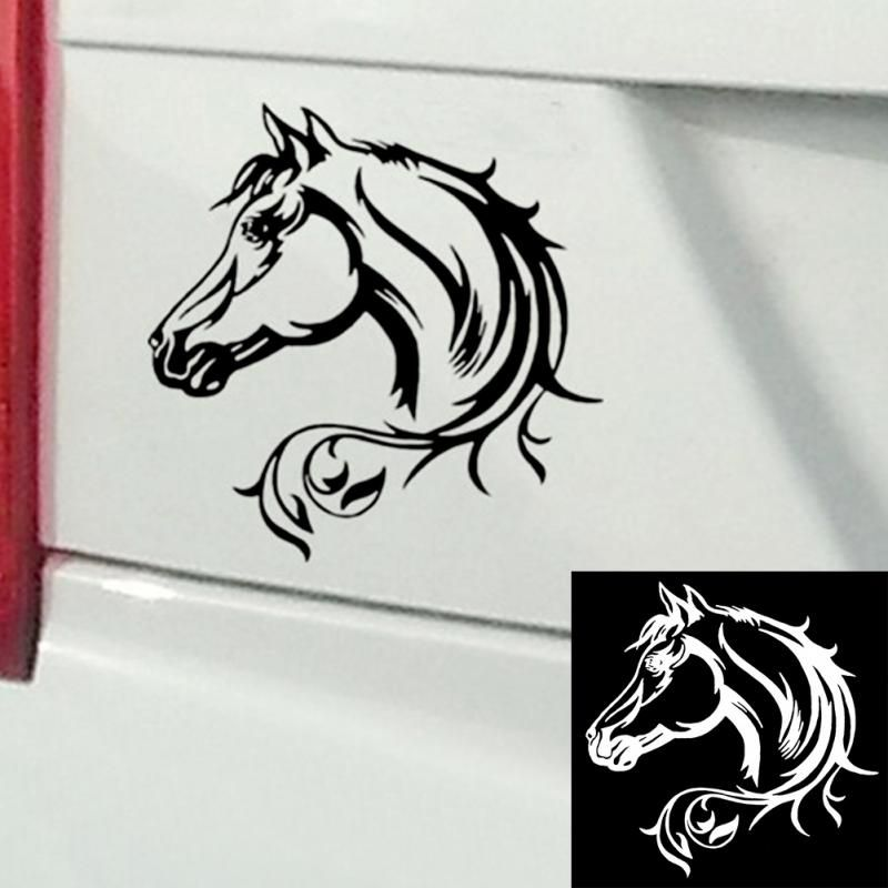 20 20CM Reflective Car Sticker Horse Head Beautiful Animal Pattern Car Body Decorative Decal Car