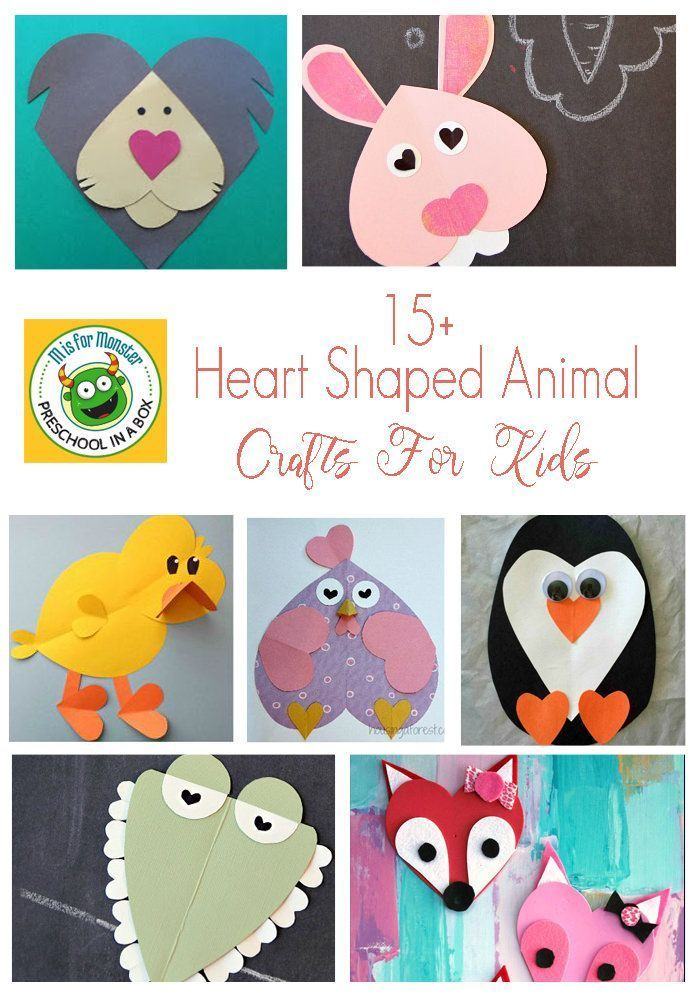 Animal Crafts Made With Hearts Fun Valentine Crafts For Kids valentinecrafts