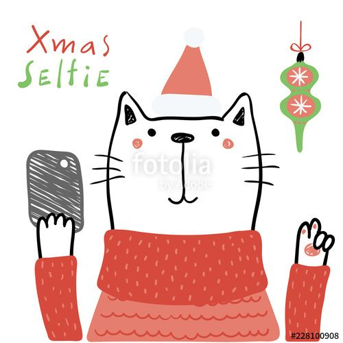 Hand drawn vector illustration of a cute funny cat in a Santa hat with a smart phone text Xmas selfie Isolated objects on white background Line drawing