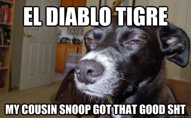 EL DIABLO TIGRE MY COUSIN SNOOP GOT THAT GOOD SHT Skeptical Mutt