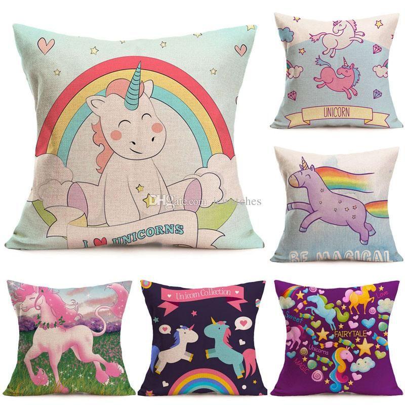 15 Style Cartoon Unicorn Pillow Case Cute Print Cushion Cover Decorative Throw Pillowcase Car Sofa Home Decor Throw Pillow Cover Funny Pillow Cases From