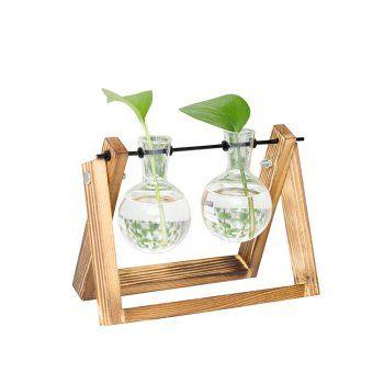 Creative Wood Frame Hydroponics Plant Transparent 2 Vase