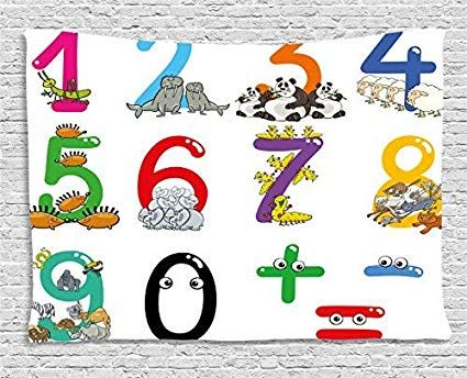Mathematics Classroom Decor Tapestry Numbers from Zero to Nine with Zoo Animals Happy Fun Preschool Wall