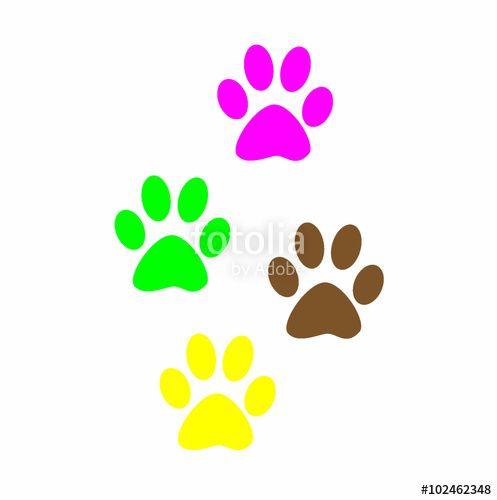 """Imprint of the black paw prints of the animal Web icon color paw dog Paw print pet Print on white background "" Stock photo and royalty free images on"