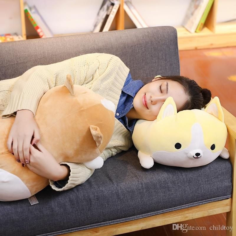 NEW 50cm Cute Corgi Dog Plush Toy Stuffed Soft Animal Cartoon Pillow Lovely Christmas Gift for Kids Kawaii Present Wholesale Cute Corgi Dog Cartoon Pillow