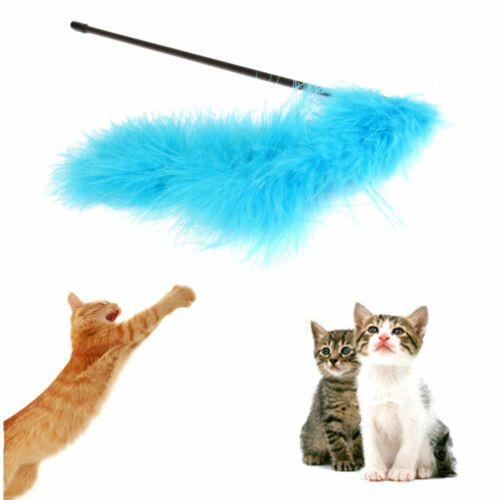 6 of 9 Funny Cat Kitten Pet Teaser Turkey Feather Activity Toy Wire Chaser Wand Toys XJ