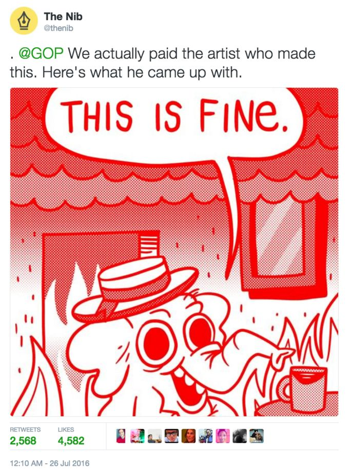 Tweet of the GOP elephant in a burning room saying this is fine Republican this is fine meme artwork