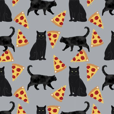 black cat fabric pizza and cats fabric cute funny cat internet cats fabric grey fabric petfriendly Spoonflower