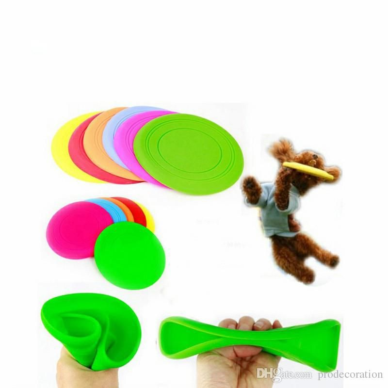 Super Soft Silicone Meddle Flying Disc of Fantastic Pet Dog Flying Disc Tooth Resistant Training Toy Play Frisbee Tide Disc Dog Decorating Tools Disc