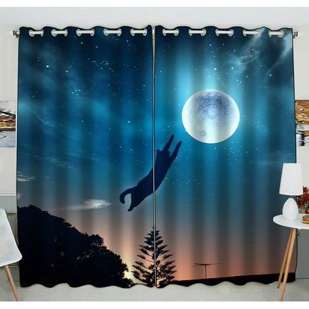 PHFZK Universe galaxy space Space Window Curtain Funny Cat Kitten in Jump Catching Moon Window Curtain Blackout Curtain For Bedroom living Room Kitchen