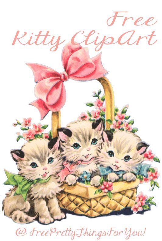 Free Vintage Kitty Cat Clip Art cute