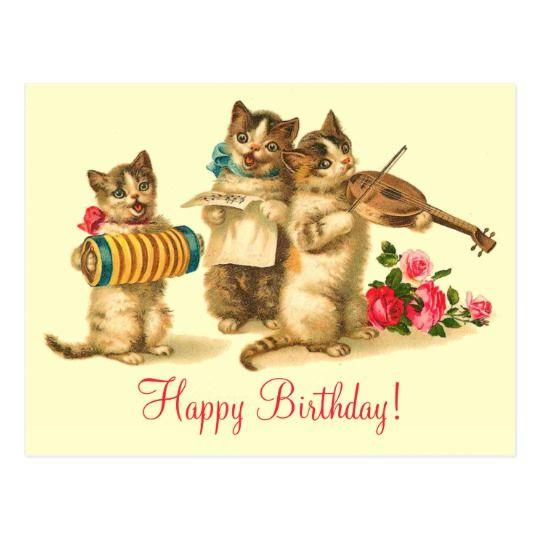 vintage funny cats singing happy birthday postcard r04f35a691fbb ee cc30 vgbaq 8byvr 540
