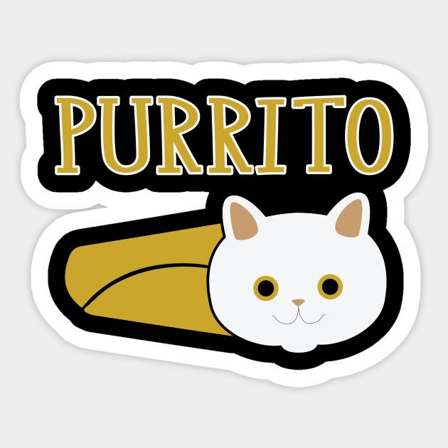 Cute Purrito Funny Cat Pun Burrito Sticker