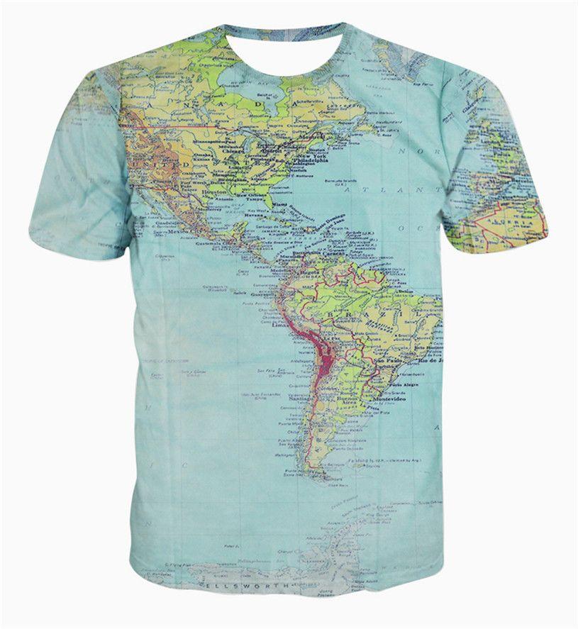 New fashion The World Map T shirt printing 3d t shirt harajuku outfit tees top